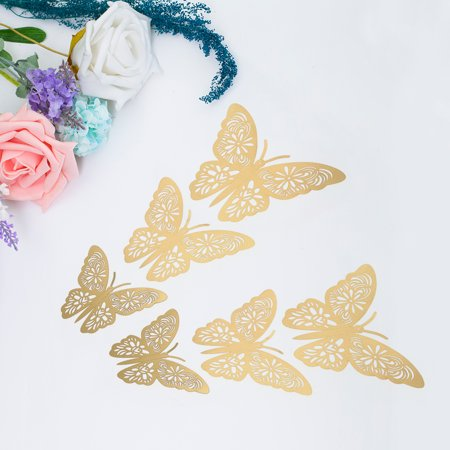 12pcs/set Vivid 3D Butterfly Wall Stickers Removable Mural Stickers DIY Art Wall Decals Decor with Glue for Bedroom Wedding Party--Gold - image 4 de 7