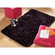 """your zone faux fur spike rug, black, 3' x 4'8"""""""