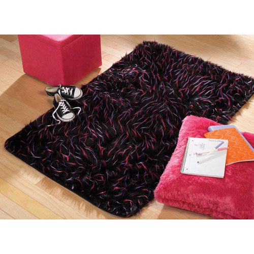 Your Zone Faux Fur Spike Rug, Black, 3' X 4'8""