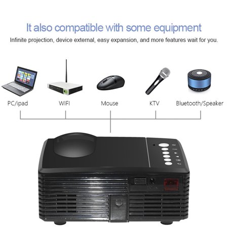 High Definition Led Projector Portable Family Cinema Home Theater Mini Beamer Black