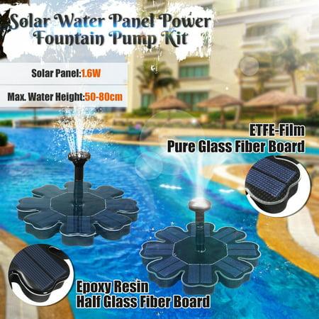 Floating Solar Power Water Fountain, 1.6W 8V Solar Panel Water Floating Fountain Pump Kit for Fish Tank, Small Pond, Bird Bath, Aquarium, Garden Decoration and Patio