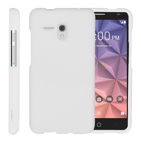 Alcatel One Touch Fierce XL 5054N, [SNAP SHELL][White] 2 Piece Snap On Rubberized Hard White Plastic Cell Phone Case with Exclusive Art -  White