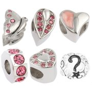 Birthstone Beads and Charms for Pandora Charm Bracelets Stainless Steel Pink 1