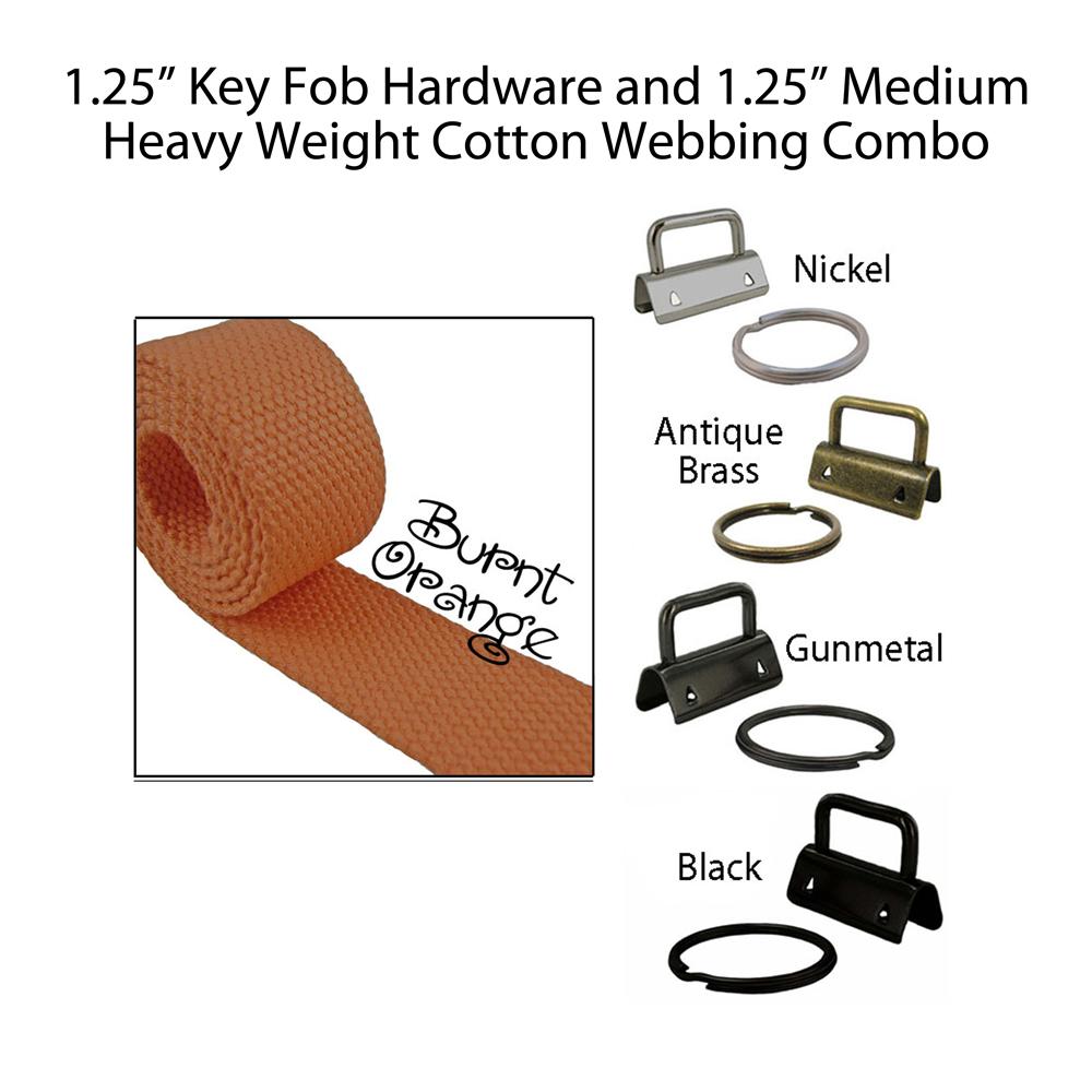 """1.25"""" Key Fob Hardware and 1.25"""" Cotton Webbing Combo - Burnt Orange"""