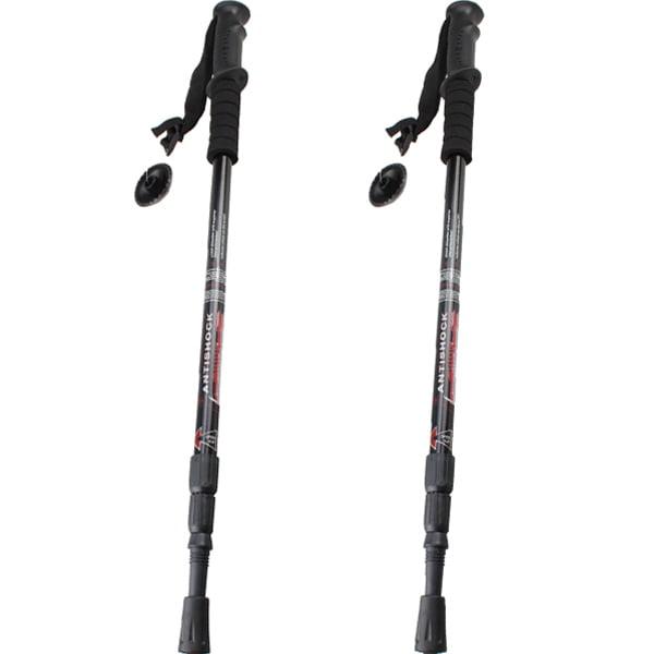 2PCS Trekking Hiking Poles Walking Sticks Telescoping Anti Shock Adjustable 6061 Aluminum by