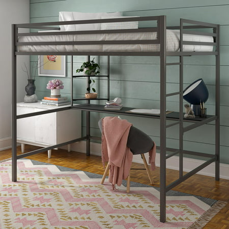 Novogratz Maxwell Metal Full Loft Bed With Desk Amp Shelves