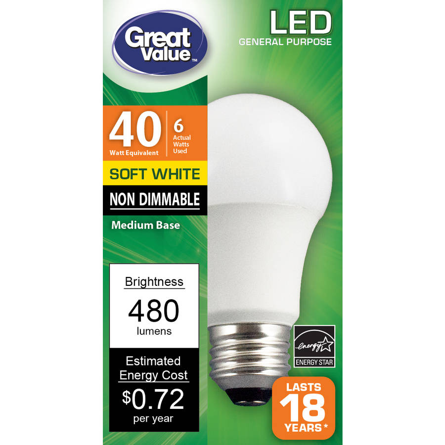 Great Value LED Light Bulb, 6W (40W Equivalent) A19, Soft White