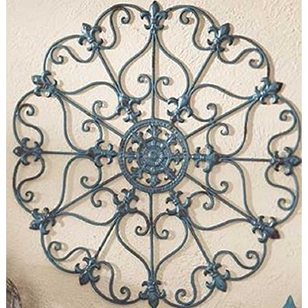 Teal Finish Iron Metal Wall Medallion Decor Indoor/Outdoor Home Decorations](Metal Decorations)