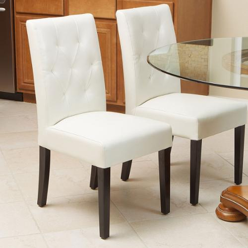Falo Bonded Leather Ivory Dining Chair (Set of 2)