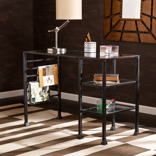 Redden Metal/Glass Writing Desk, Black