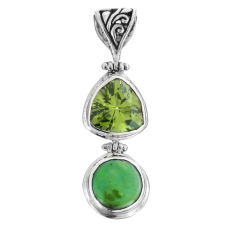 """Green Freshwater Coin Cultured Pearl Simulated Peridot 925 Sterling Silver Pendant, 1 13/16"""""""
