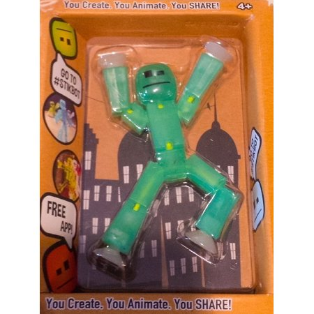 Stikbot, Translucent Light Green Stikbot Action Figure [Glows In the Dark], 3 Inches, By Zing