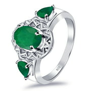 Trinity 1.66 Ctw Oval, Pear Emerald 925 Sterling Silver Ring For Women's By Orchid Jewelry