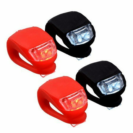 Wideskall® Dual Silicone Bike Bicycle LED Front Headlight & Rear Taillight Flashlight Set Planet Bike Blinky Super Flash