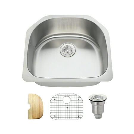 MR Direct 2421 16 Gauge Undermount Stainless Steel 23-1/2 in. Single Bowl  Kitchen Sink Ensemble