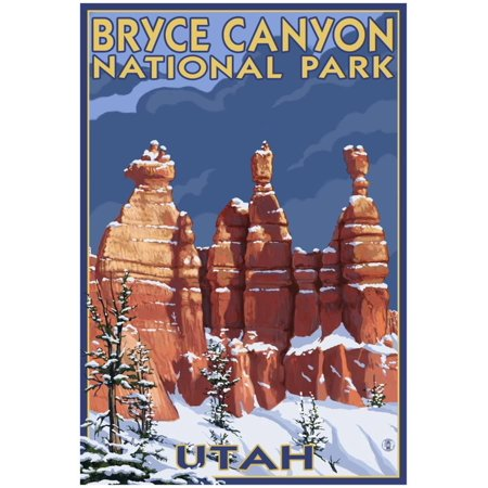Bryce National Park, Utah, Winter Scene Poster - 13x19 - Winter Park Halloween Events
