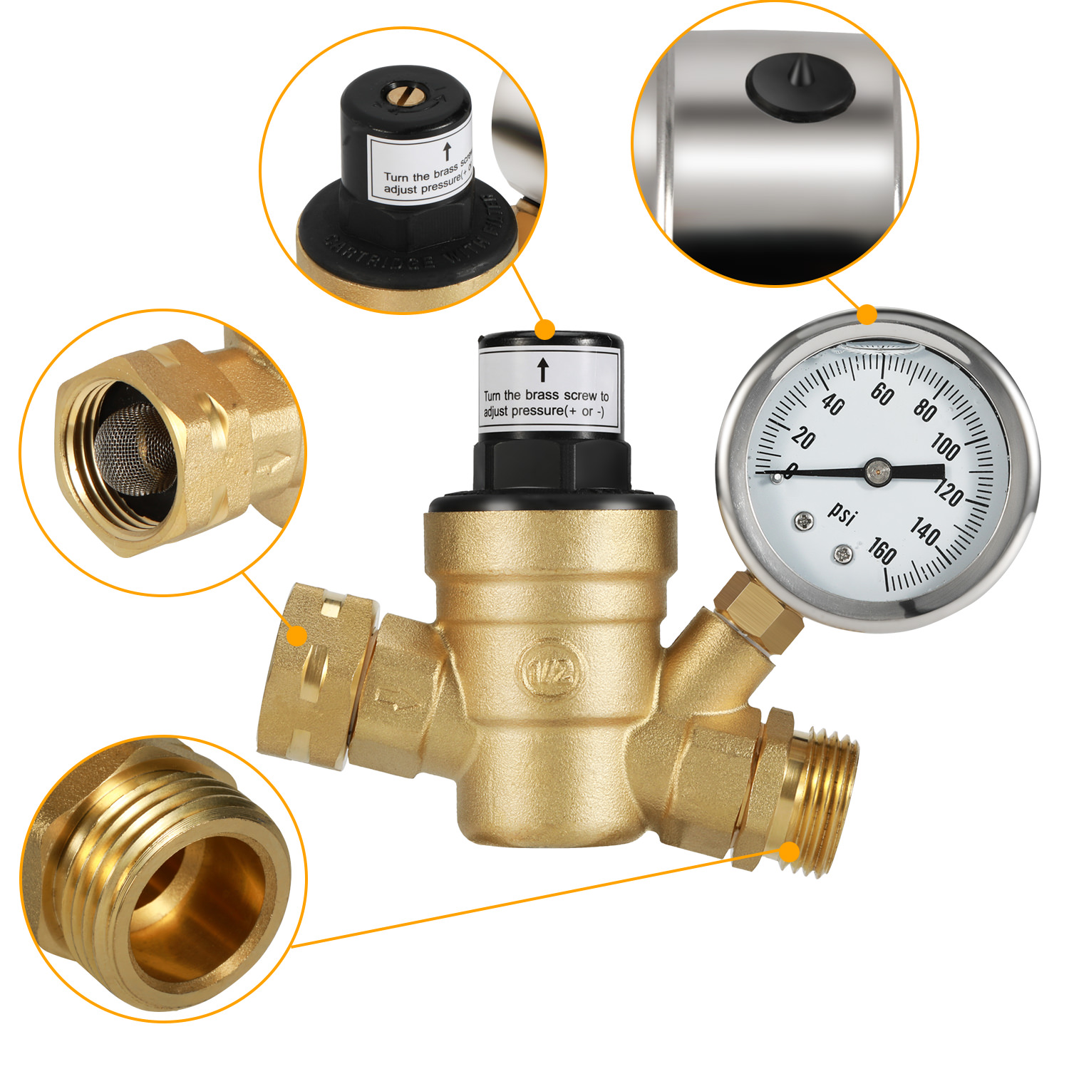 Brass Lead-Free Adjustable Water Pressure Reducer with Gauge for RV Camper Water Pressure Regulator Valve and Inlet Screened Filter for Home Garden and Campsites