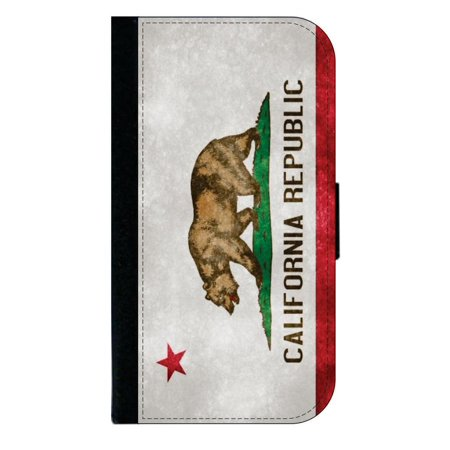 California Mobile (California Republic Grunge Flag - Wallet Style Cell Phone Case with 2 Card Slots and a Flip Cover Compatible with the Standard Apple iPhone 7 and 8 Universal)