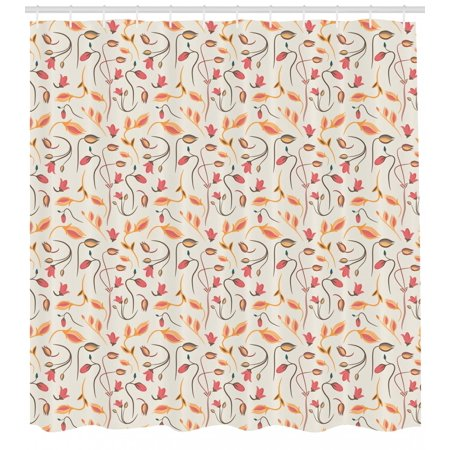Flower Shower Curtain, Summer Blooms Botany Beauty Florets Flourishing Season Nature Design, Fabric Bathroom Set with Hooks, 69W X 84L Inches Extra Long, Coconut Dark Coral Apricot, by Ambesonne
