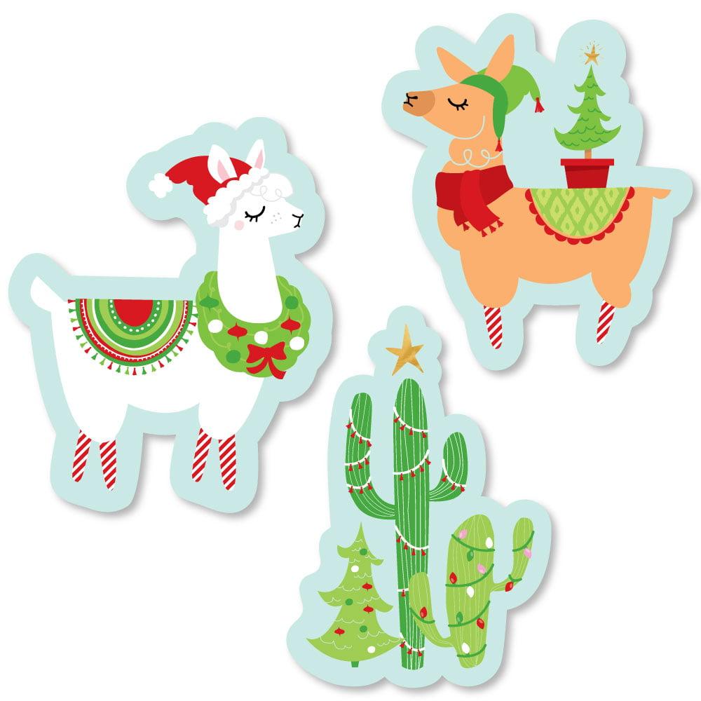 Fa La Llama - Shaped Christmas and Holiday Party Cut-Outs - 24 Count