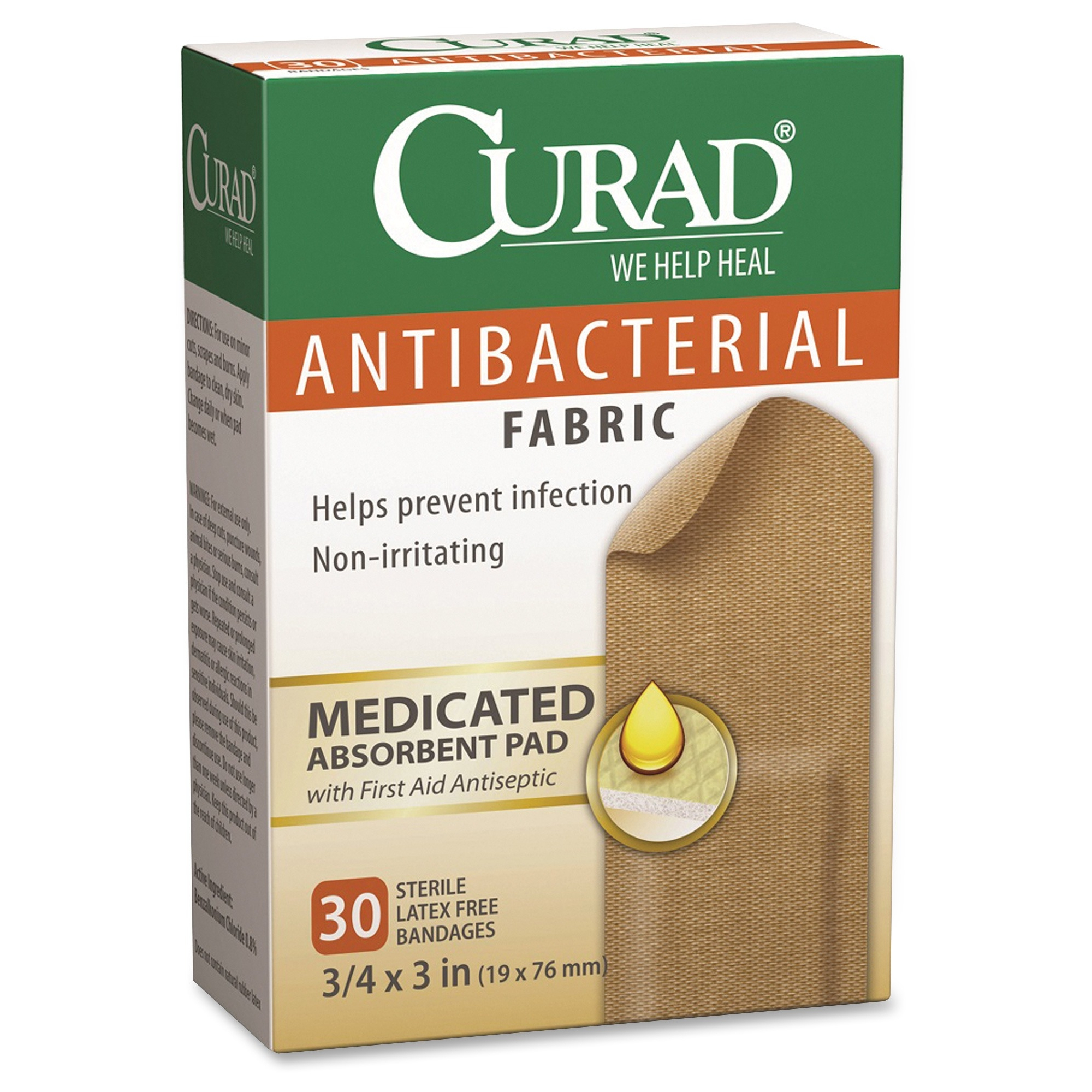 "Curad Antibacterial Fabric Bandages - 0.75"" X 3"" - 30/box - Brown (cur47255)"