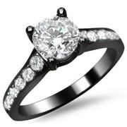 Noori Collection Noori 14k Black Gold 1ct TDW Round Pave-set Diamond Engagement Ring