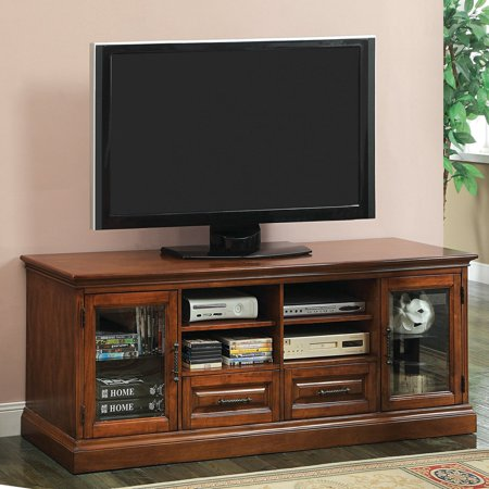 Furniture of America 72 in. Landser Media Cabinet with Framed Glass Door Antique Oak by