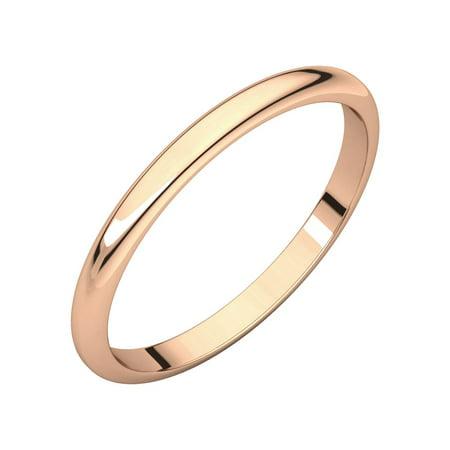 14K Rose Gold 2 mm Half Round Wedding Band Men's Ring Size