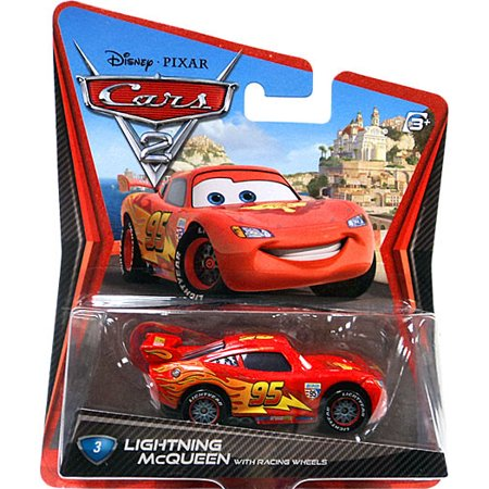 Disney Cars Main Series Lightning McQueen with Racing Wheels Diecast Car (Lightning Mcqueen Cars 2)