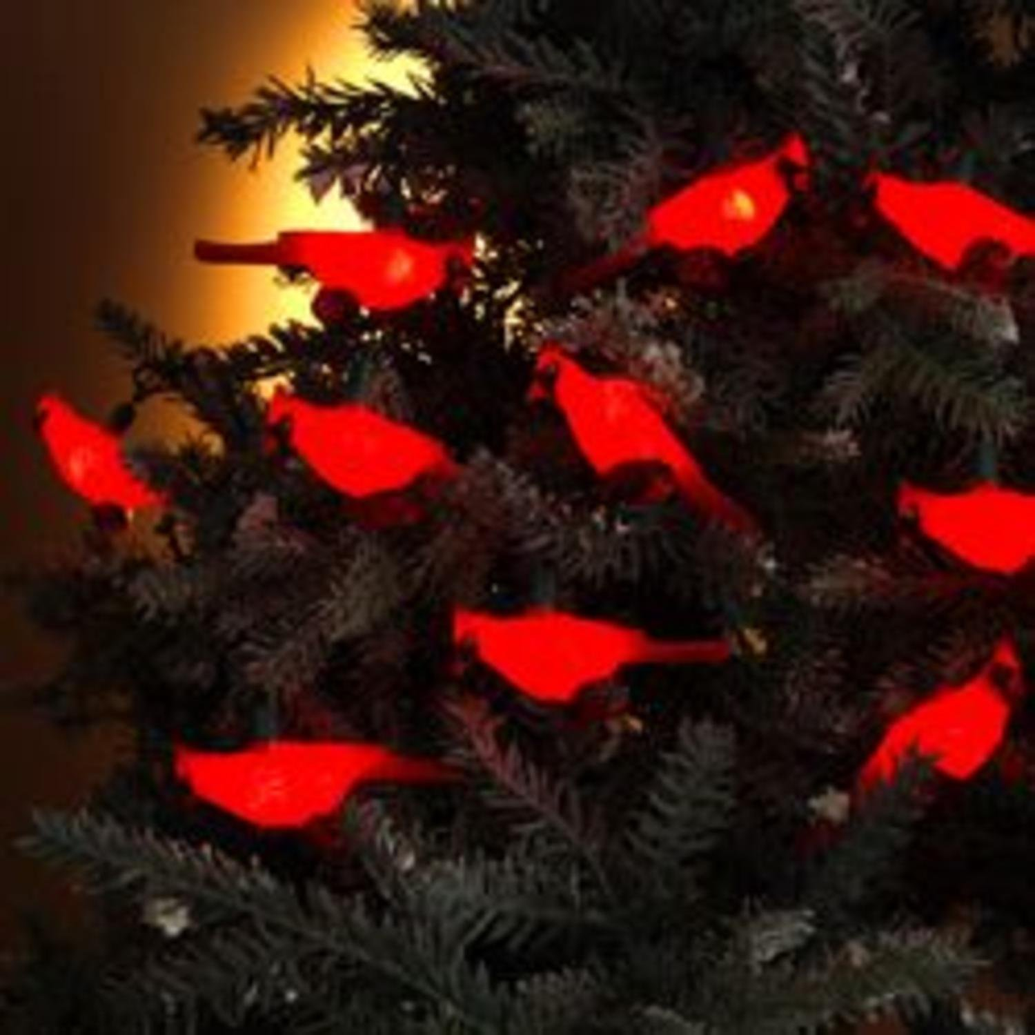 Set of 10 Festive Red Cardinal Bird Novelty Christmas Lights - Green ...
