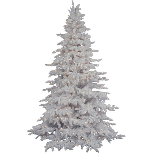 Vickerman Flocked White Spruce 6.5' Artificial Christmas Tree with 450 LED Warm White Lights with Stand