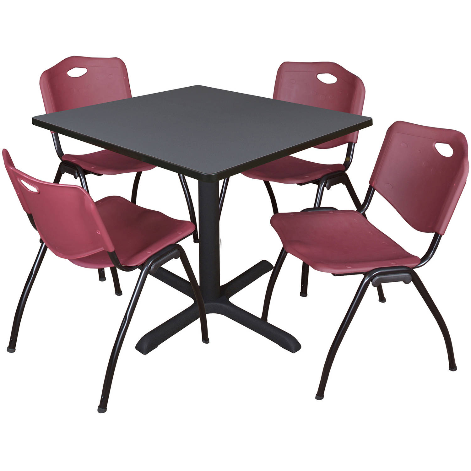 "Cain 36"" Grey Square Breakroom Table and 4 'M' Stack Chairs, Multiple Colors"