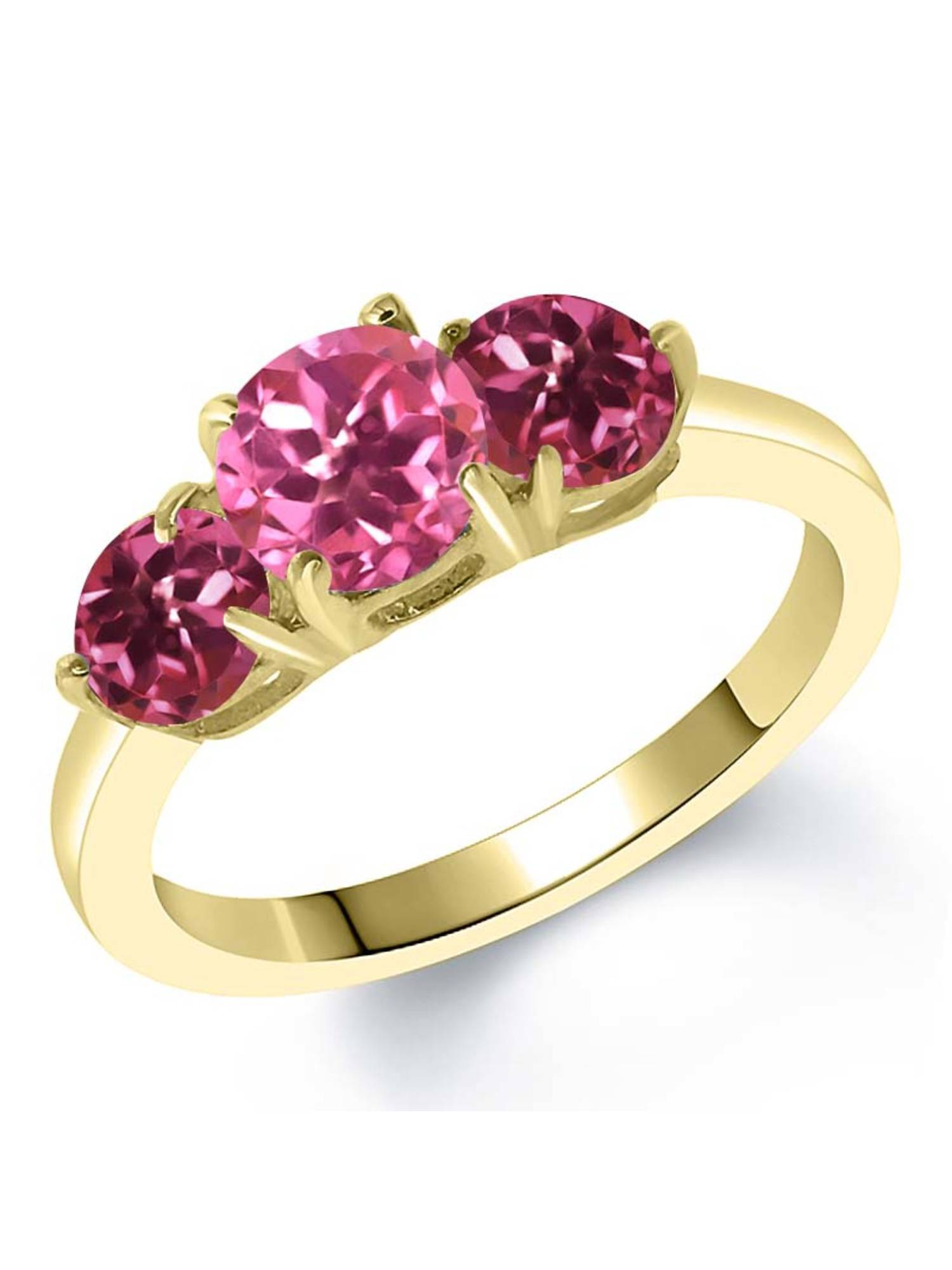 2.00 Ct Pink Mystic Topaz Pink Tourmaline 18K Yellow Gold Plated Silver Ring by