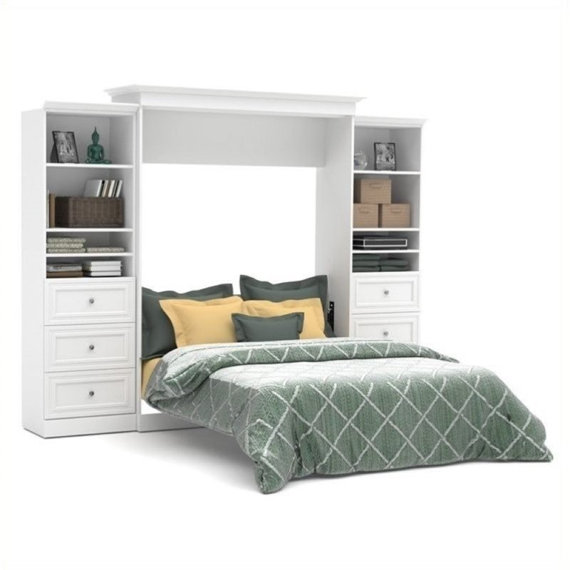 Bowery Hill Queen Storage Wall Bed in White