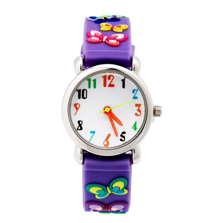 3D Cute Cartoon Quartz Watch Stainless Steel Wristwatches with Silicone band Time Teacher for Little Girls Boy Kids Children Gift (Purple Butterfly), 3D cartoon design,.., By