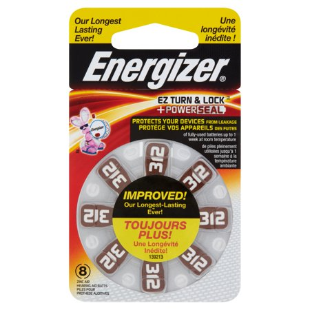 Energizer Size 312 Mercury Free Hearing Aid Batteries  8 Pk