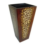 Cheungs Indoor Outdoor Patio Gardening Wooden 12 inch Tall Planter Pot with leopard print