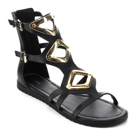 e41e9cf60 YOKI SHOES Beston DB34 Women s Double Buckles Flat Sandals - Walmart.com
