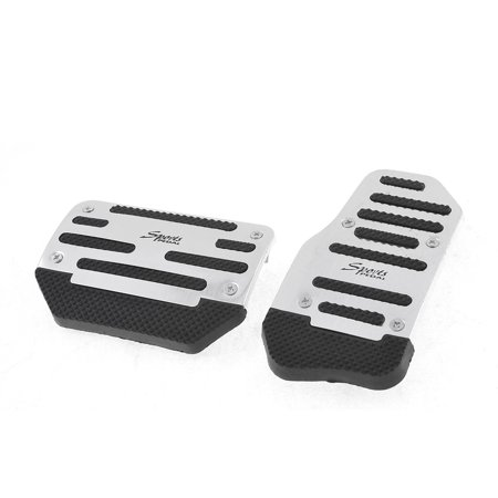 Uxcell 2 x Silver Tone Black Nonslip AT Metal Gas Brake Pedal Pad Covers for Car Auto