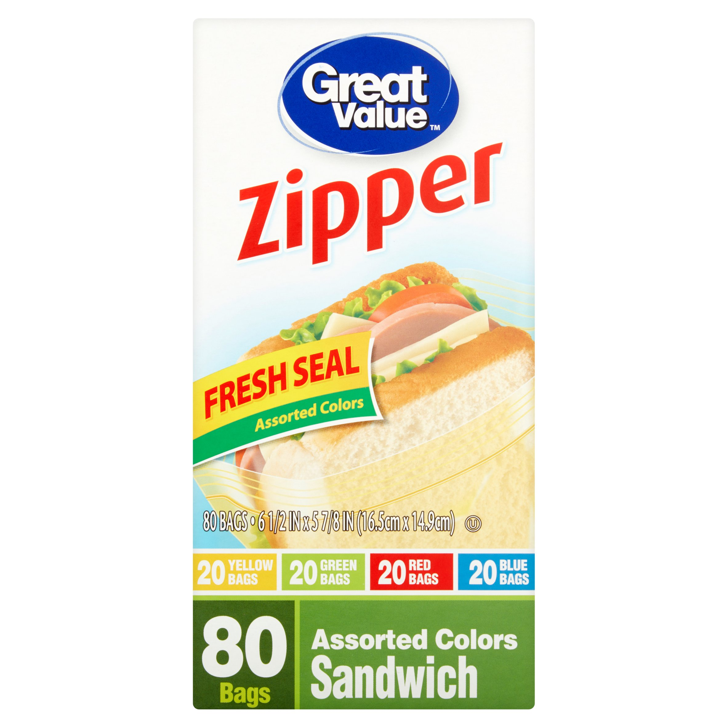 Great Value Pinch & Seal Zipper Food Storage Bags, Sandwich, Mega Pack, 80 Count