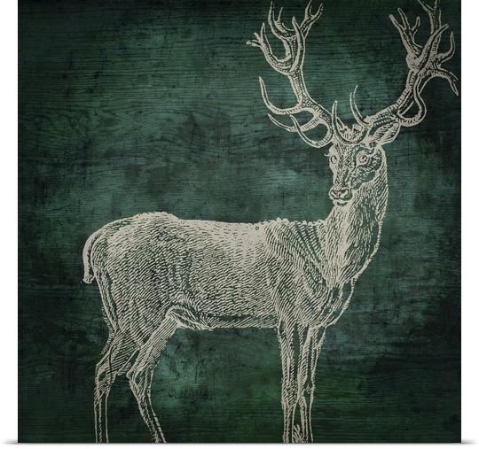 Great BIG Canvas   Rolled Color Bakery Poster Print entitled Emerald Deer