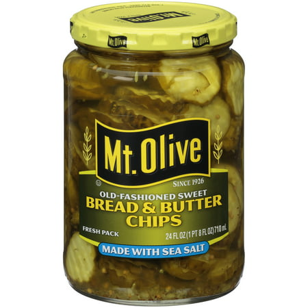 Mild Sweet Pickles ((3 Pack) Mt. Olive Old-Fashioned Sweet Bread & Butter Chips, 24 oz )