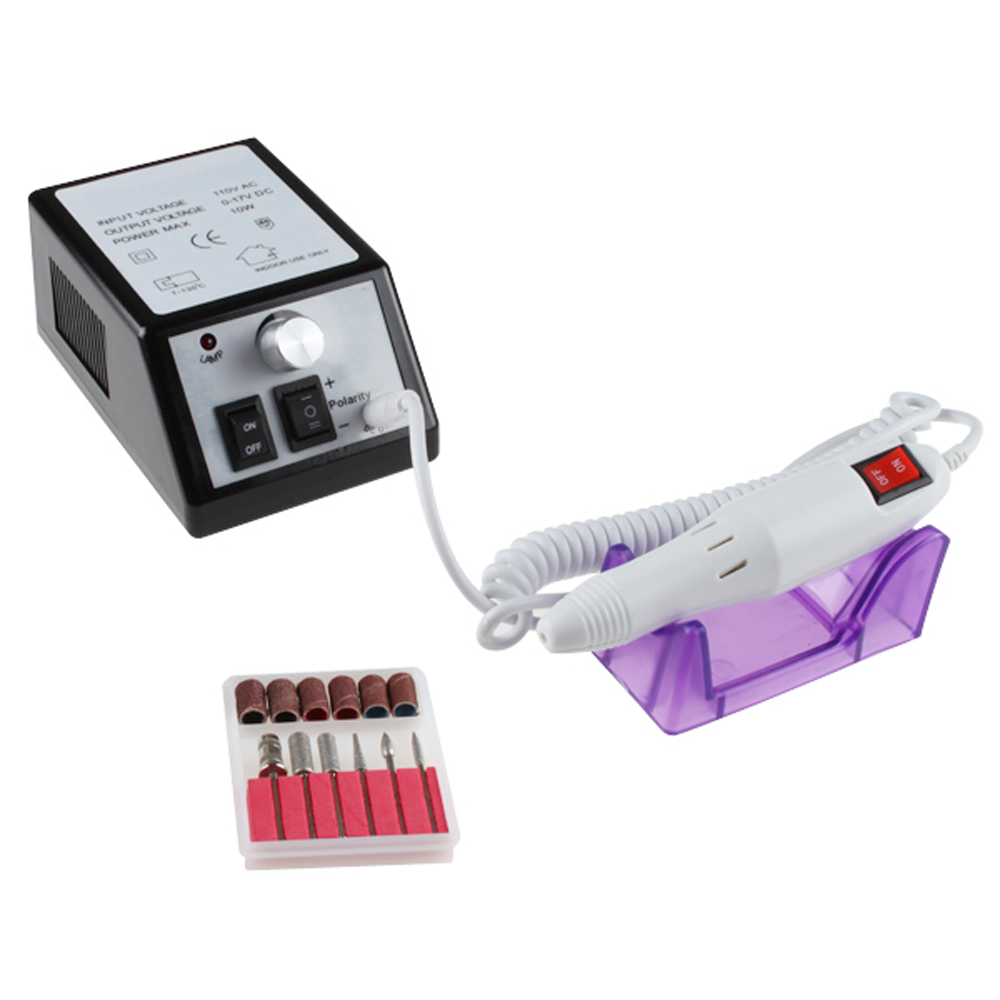 AGPtek Nails Art Professional Electric Manicure Pedicure File Nail Drill Kit Set (white)