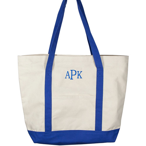 Personalized Canvas Tote Bag, Blue Monogram, Bookman