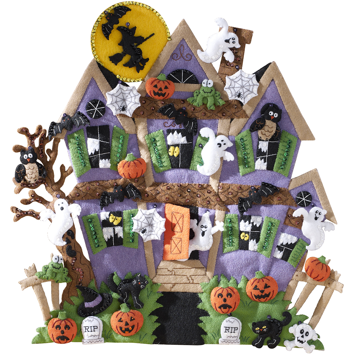 Haunted House Wall Hanging Felt Applique Kit-18 Inch X 18 Inch