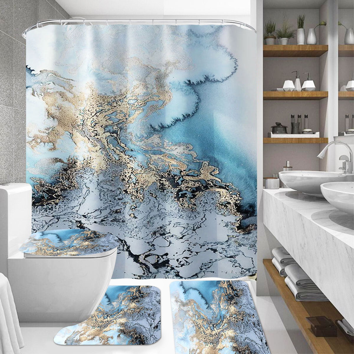 4 Piece Shower Curtain Set With Rugs, Marble Bathroom Set With Shower Curtain