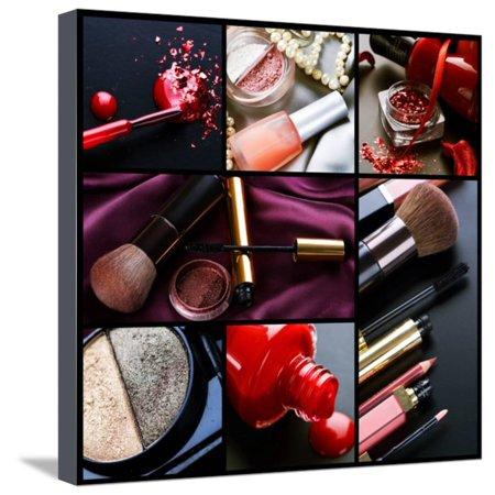 Professional Make-Up Collage Stretched Canvas Print Wall Art By Subbotina (Best Way To Make A Collage)