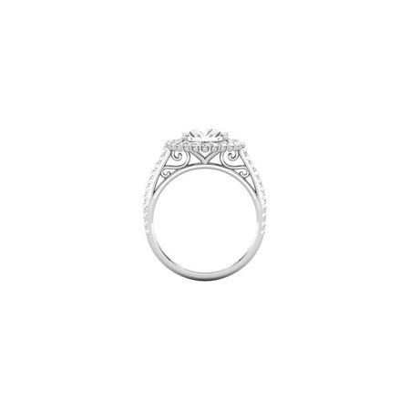 1 3/4ct Halo Diamond Vintage Engagement Ring 14K White Gold Handmade Brand New - image 1 of 3
