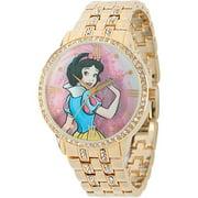 Snow White and Prince Women's Alloy Case Watch, Gold CZ Bracelet