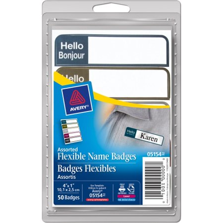 Avery Flexible Name Badge Labels 5154  Assorted Colors  1   X 3 3 4    Pack Of 100